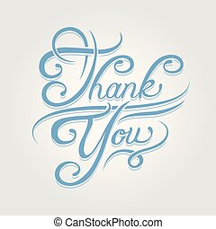 Thank you text written beautiful blue calligraphic font. Vector illustration