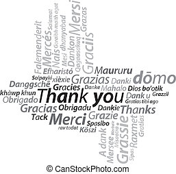 thank you texture text illustration in all languages