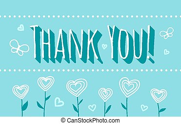 Thank You card with a flowers on turquoise background