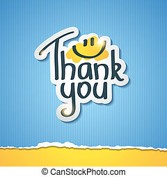 thank you - Thank You inscription on paper sticker, vector...