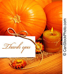 Thank you, thanksgiving greeting card with pumpkin...