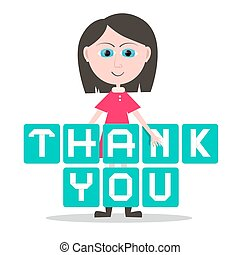 Thank You Title and Girl - Woman Vector Isolated on White Background