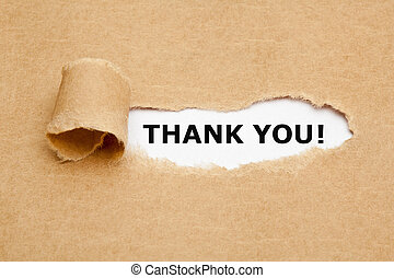 Thank You Torn Paper - The text Thank You appearing behind ...