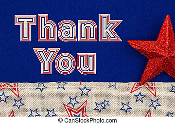 Thank You type message on blue fabric with a red star