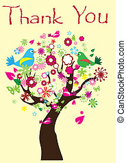 Thank You - vector card with thank you tree