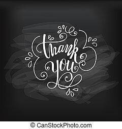 Thank you vector on chalkboard