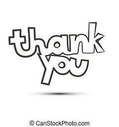 Thank You Vector Title Isolated on White Background