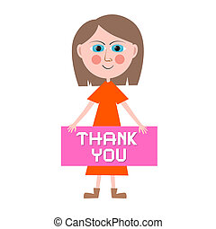 Thank You Vector Woman Illustration