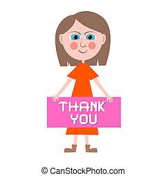 Thank You Vector Woman Illustration