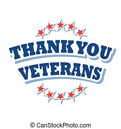 thank you veterans logo isolated on white background