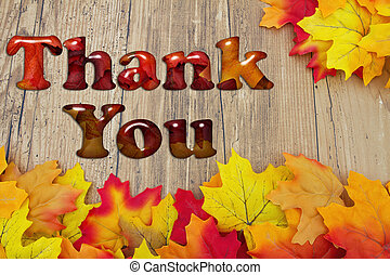 Thank You with Fall Leaves