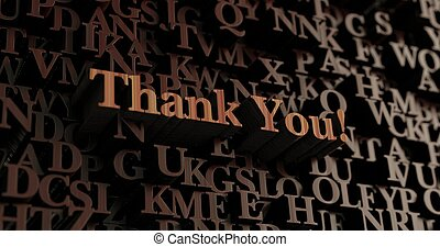 Thank You! - Wooden 3d rendered letters/message
