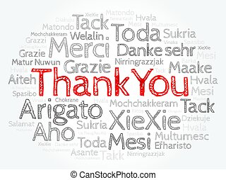 Thank You Word Cloud background, all languages, multilingual...