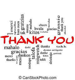 Thank You Word Cloud Concept in red caps with great terms in different languages such as mahalo, danke, gracias, kitos and more.