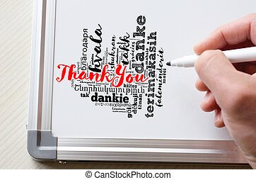 Thank You word cloud in different languages with marker and whiteboard