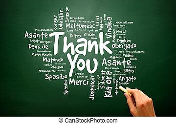 Thank You Word Cloud on blackboard, presentation background, presentation background