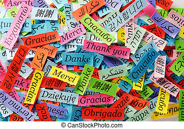 Thank You Word Cloud printed on colorful paper different ...