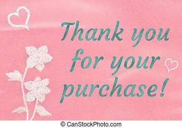 Thank you word message on pink with flower