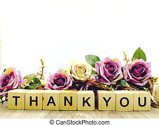 thank you word wooden block with artificial roses flowers decor