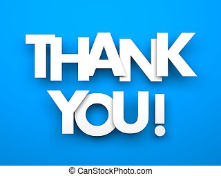 Thank you. Words on a blue background