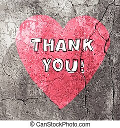 Thank You Words On Concrete Texture. Vector