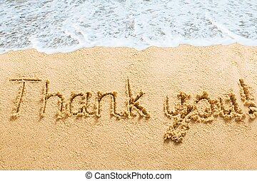 Thank You Words Written On Beach