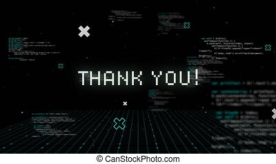 Thank you written in white distorting on black background with text and white grid. vintage video gaming interface concept digitally generated image.
