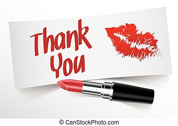 Thank You written on note by lipstick with kiss