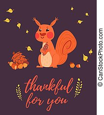Thankful for you greeting card with squirrel holding cone....