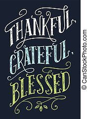 Thankful, grateful, blessed home decor sign - Thankful,...
