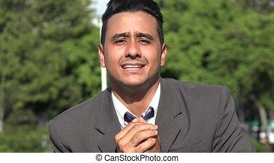 Thankful Hispanic Business Man Talking