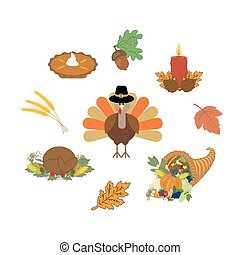 Thankgiving day set on the white background. Vector...