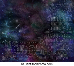 Thanking the Universe - Deep space background with the words...