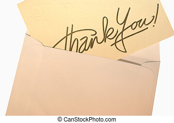 thanks - a thank you card inside an envelope