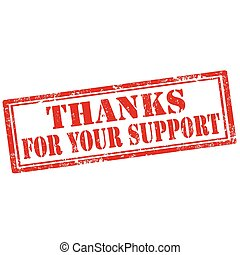 Thanks For Your Support-stamp - Grunge rubber stamp with...