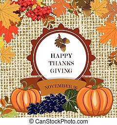 Thanks Giving card with leaves