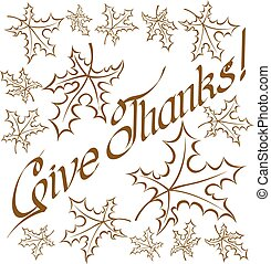 Thanks Giving text - Vector calligraphic text Happy...