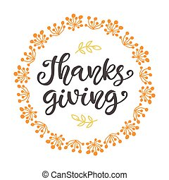 Thanks Giving. Thanksgiving Day lettering