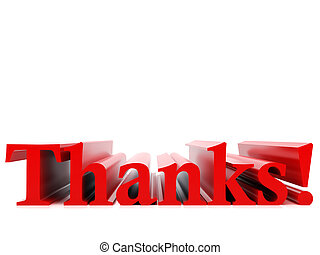 High resolution image. 3d rendered illustration. The word thank you.