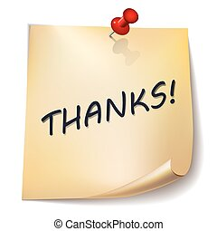"""Thanks!"" note paper with red pin on white background. Card or background."