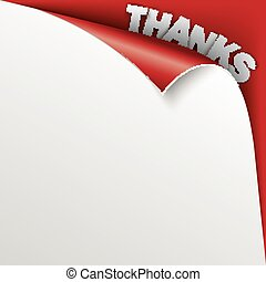 Thanks Scrolled Corner Red Paper Cover