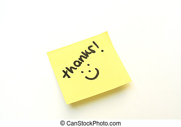 Thanks - Thank you with a smile on a yellow post it note