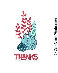 Thanks underwater greeting card with seaweeds