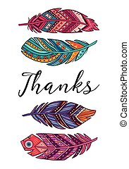 Thanks. Vector card with ethnic decorative feathers