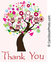 Thanks - vector thank you tree card