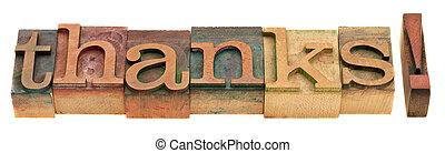 thanks - word in letterpress type - thanks - word in vintage...