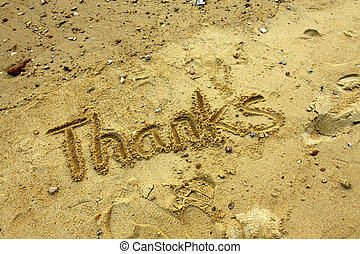 Thanks words on sand