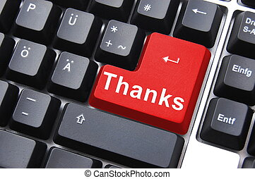 thanks written on computer button to say thank you