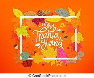 thanksgiving., 色, フレーム, 構成, 秋, 白, 葉, 幸せ