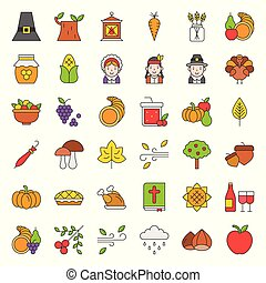 Thanksgiving and autumn related icon big set